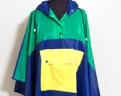 vintage poncho raincoat - 1970s-80s Betmar green/blue/yellow hooded poncho