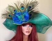 Royal Cobalt Blue Turquoise Green Wide Brim Hat Kentucky Derby   -Wedding- Peacock - Sinamay