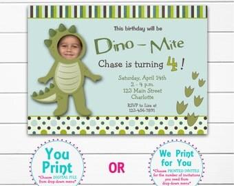 Dinosaur party birthday invitation -- dinosaur birthday party - dino  dig -- You print or I print