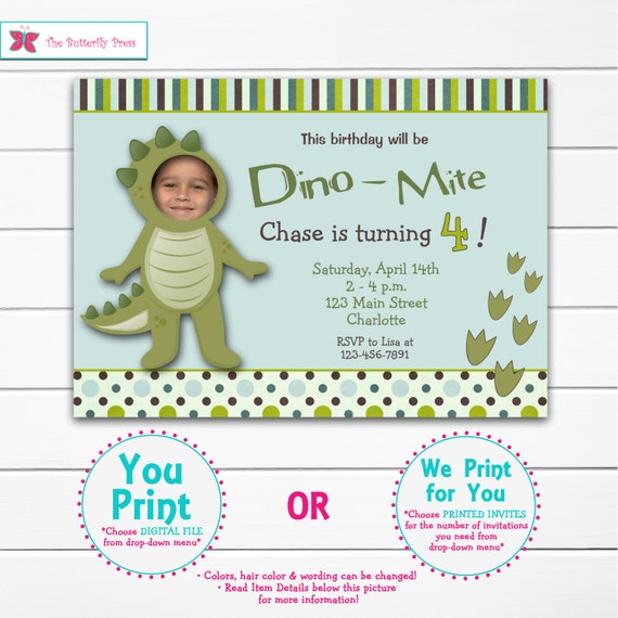 Dinosaur party birthday invitation -- dinosaur birthday party - dino  dig -- You print or I print