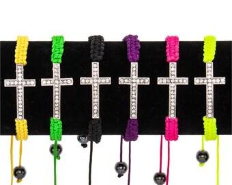 Assorted Crystal Cross Adjustable Bracelets - Set of 6