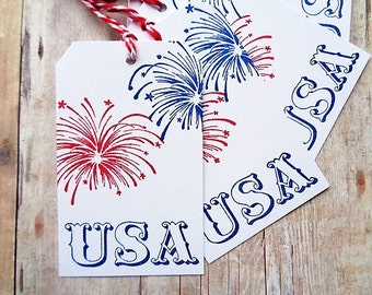 USA Fourth of July Tags Fireworks Patriotic Independence Day Red White and Blue