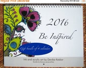 BLACK FRIDAY Sale 2016 WALL Calendar gift bundle of 4 calendars- Inspirational calendar, wall calendar 2016, bright designs, gift for teache