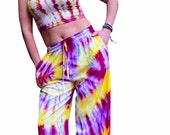 Tie Dye Wide Leg Pants | Vegan Rayon | Raspberry and Yellow | Hippie Pants | Gypsy Clothing | Music Festival Clothing