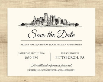Pittsburgh Skyline Save the Date; SAMPLE ONLY, completely customizable