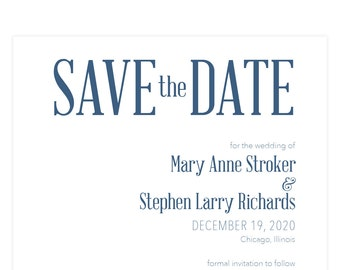 """Navy Save the Date card """"Acronyms"""" floral envelope liner; SAMPLE ONLY"""