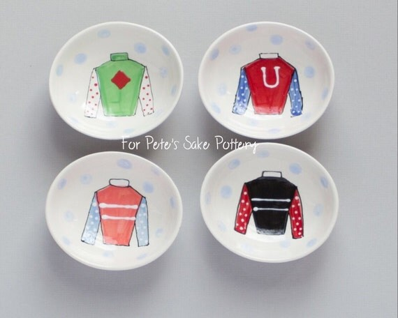 Jockey Silk bowl, Kentucky Derby bowl, Equestrian gift, Derby party gift, Derby hostess gift, Jockey silk dish, Ceramic Jockey silk bowl