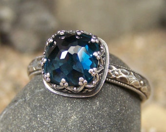 Deep Waters Ring - New Cut - 8mm Cushion Brilliant Rose Cut London Blue Topaz in Heart Crown Bezel with Flower Band