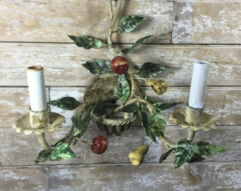Vintage Metal Flower Light Shabby Chic Muted Colors