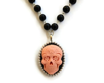 Pink Sugar Skull Necklace, Black Beaded, Day of the Dead, Dia de los Muertos, Spooky, Halloween, Rockabilly Beaded necklace