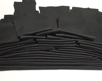25 Scrap Leather Remnants Lot Black Italian Leather Cowhide Scraps
