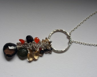 Fall colors genuine Gemstone necklace with Silver ring