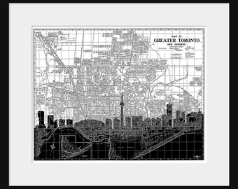Toronto Map -Toronto Skyline - Print Poster