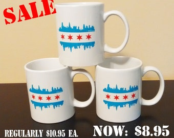 Chicago Skyline Coffee Cup - Coffee Mug - Chicago Flag