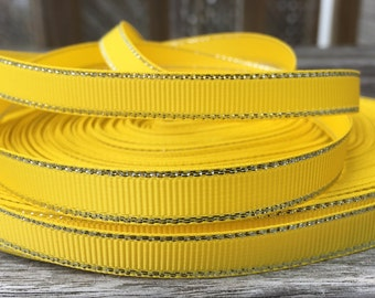 Yellow Grosgrain Ribbon 3/8 inch 9mm 2 yards