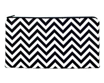 Black & White Chevron Zipper Pouch Pencil Case Clutch Purse Makeup Bag