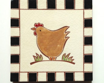 "Orange chicken handmade ceramic tile, coaster or wall hanging 6"" x 6"""