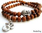 Wrist Mala Bayong Wood & Tibetan Buddha