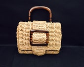Raffia, Straw Handbag With Wood Handle and Buckle Decoration, Metal Feet, Linen Interior, Made in Japan