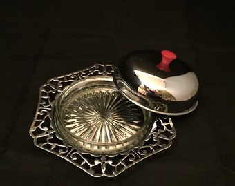 Silver Plate Covered Butter Dish, Glass Insert, Red Bakelite Knob, Round With Filigree Edge,  British Made