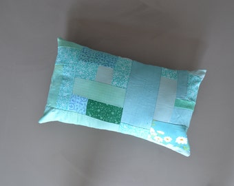 mint green dyed patchwork lumbar pillow - mint floral pillow cover - patchwork pillow cover - 12x20 lumbar pillow cover with flowers