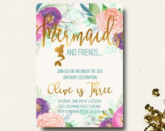 Mermaid Birthday Invitation Floral Boho Chic Gold Girls Under the Sea