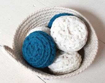 dish scrubbie/pot scrubber/nylon scrubbie/natural/teal