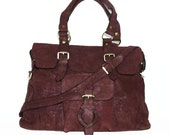 Red-wine Leather Tote Shoulder Cross-body Bag Johanna L fits a 13 inches Laptop