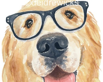 Dog Watercolor PRINT - Golden Retriever, 8x10 Print, Dog Wearing Glasses, Nerd Dog