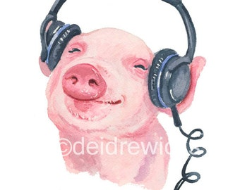 Pig Watercolor PRINT - 11x14 Print, Piglet Watercolour, Music Animal, Nursery Art, Farm Animal