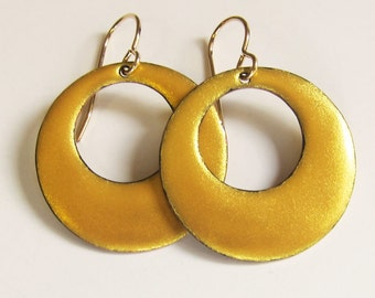 Big gold circle hoop earrings Unique round dangles Large shimmer gold earrings Minimalist enamel jewelry