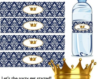 Royal baby Bottle Labels 12 oz ~ Instant Download Editable Bottle Labels Templates, Prince ~ Use any font style, font color & font size BS32
