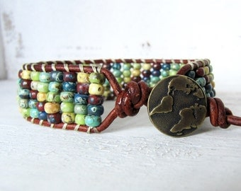 Antique Gold Map Bracelet, Red, Yellow, Green, Turquoise, and Navy Brown Leather Wrap Bracelet, Rustic Rainbow Wrap Bracelet, Globe Button