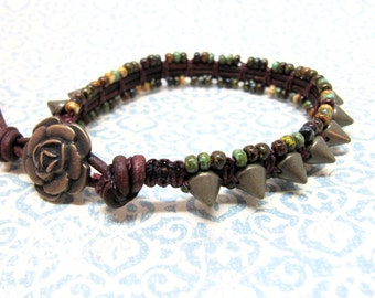Red, Black, Green, Turquoise, and Brown Beaded Leather Wrap Bracelet, Rustic Stud Wrap Bracelet, Beaded Macrame Rose Bracelet