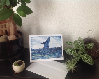 Greeting card set of two, journey of the blue whale, blank with envelopes