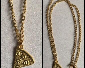 1 x Gold Tone Pizza Slice Necklace Pendant Best Friends