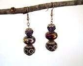 Purple Plum Bead Dangle Drop Earrings Bohemian