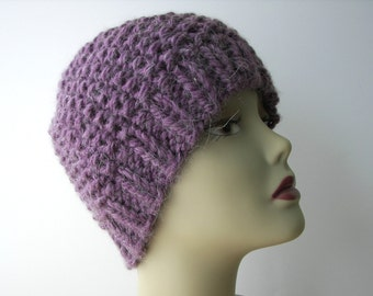 Hand Knit Textured Beanie Chunky Hat in Purple ALPACA / Warm Knit Hat/ Ski Knit Hat / Luxe Knits/ Ready to ship