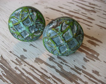 2 Aged Blue Knobs Raised Pattern Unique Heavy Metal Hand Painted Antique Style Hardware B-30