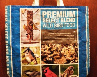 NEW LOW PRICE, X-Large Recycled  Upcycled  Repurposed  Market Grocery Tote or Gift Bag for Bird Lovers