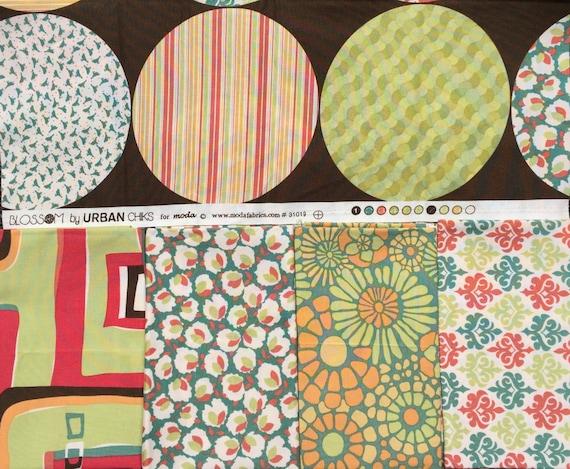 Blossom Urban Chiks bark/apple/verdigris moda fabrics 5 FQ set #1
