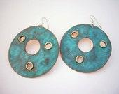 Large Circle Verdigris Earrings