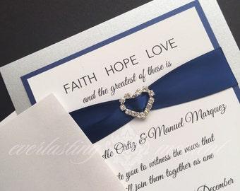 Faith Hope Love Rhinestone Invitation, royal blue, silver, white, wedding, Love Religious