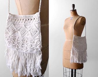 70's boho bag. white. 1970's macrame purse. fringe. cord. 70 shoulder bag. vintage.