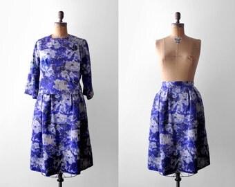 1950 watercolor skirt set. 50's suit. silver, blue, white. brushstroke. 1960's full skirt & jacket. s.