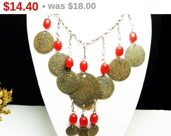BOHO Coin Necklace with Red Beads & Pressed Coins Dangling from Chain - Bib style Tribal Jewelry