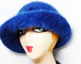Royal Blue Bucket Hat - Plush Angora Style with Gross Grain Hat Band - Signed Kangol Design - Made in England Vintage 1960s 1970s