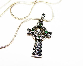 """Sterling Silver Celtic Cross Pendant Chain Necklace Signed 925  16"""" Choker Length - 925 Chain Signed - 1990's Vintage"""