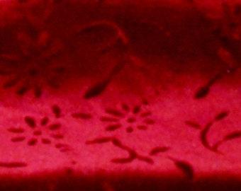 Vintage Fabric Burgundy Red Cut Velvet Remnant Craft Supply