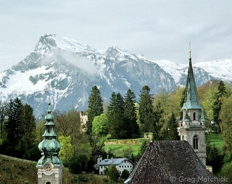 "Fine Art Color Landscape Photography of Salzburg - ""Steeples and Untersberg"""